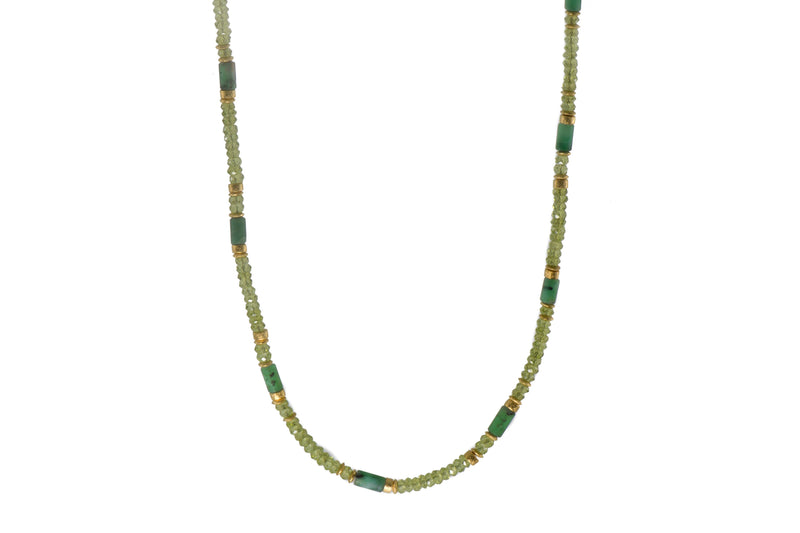 N04-0100 NECKLACE- 4MM PERIDOT & EMERALD FAIR TRADE 24K GOLD VERMEIL