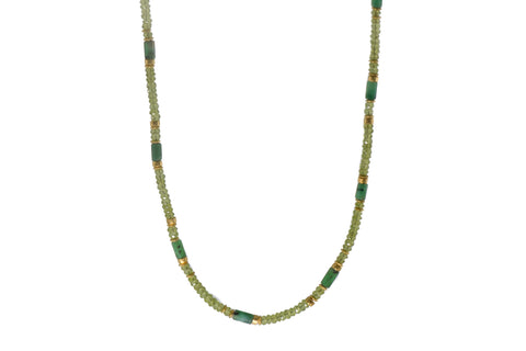 PERIDOT & EMERALD NECKLACE 4MM FAIR TRADE 24K GOLD VERMEIL - Joyla Jewelry