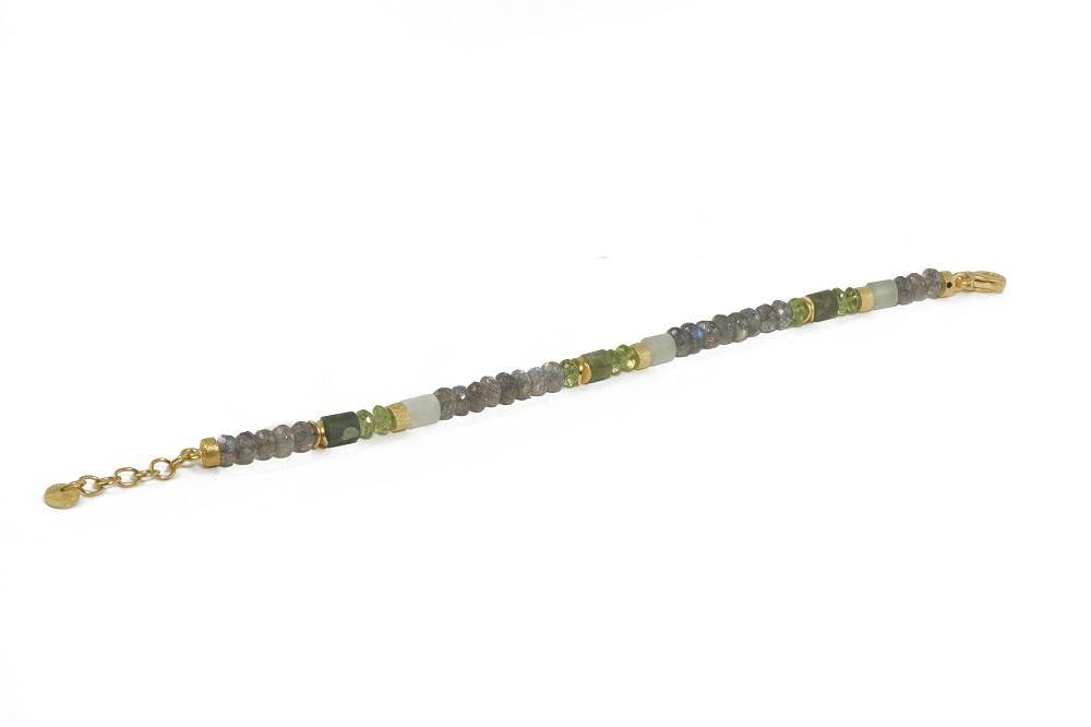 5MM LABRADORITE, PERIDOT, PREHNITE FAIR TRADE 24K GOLD VERMEIL (N05-090100B)