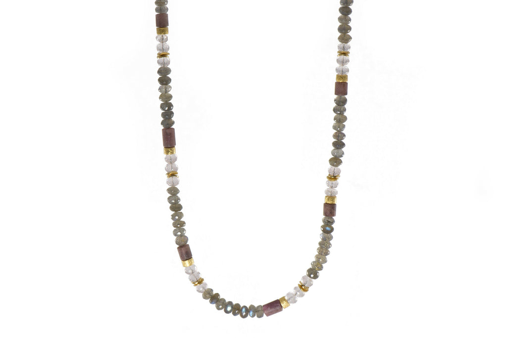 N05-090500 NECKLACE- 5MM LABRADORITE, ROSE QUARTZ & RHODONITE FAIR TRADE 24K GOLD VERMEIL