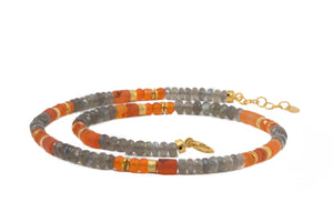 5MM LABRADORITE & CARNELIAN FAIR TRADE 24K GOLD VERMEIL (N05-090700)