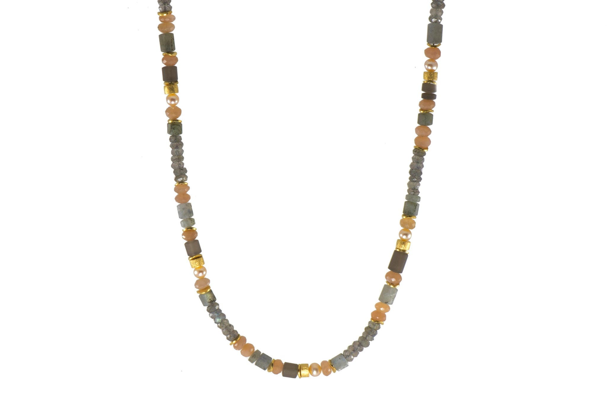 LABRADORITE, MOONSTONE, SMOKY QUARTZ & NATURAL COLORED PEARL NECKLACE 5MM FAIR TRADE 24K GOLD VERMEIL - Joyla Jewelry