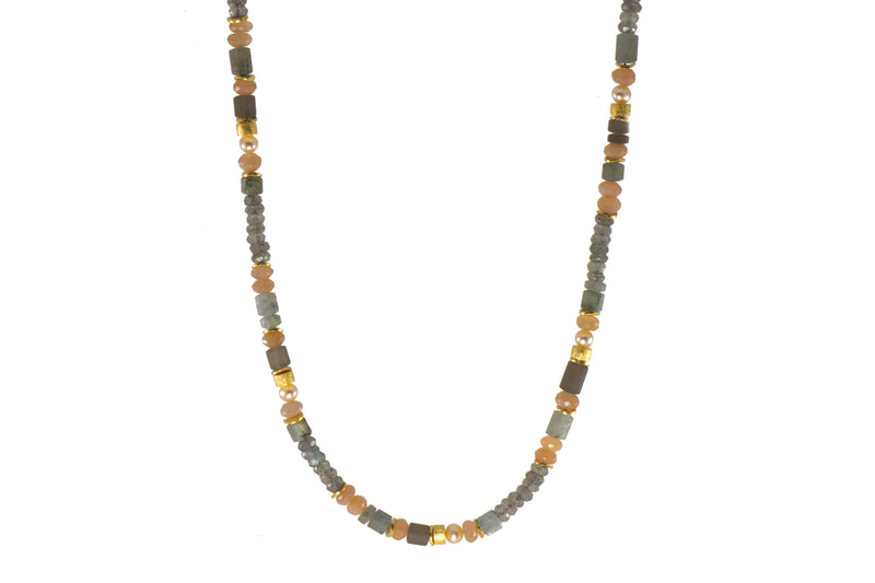 N05-091500 NECKLACE- 5MM LABRADORITE, MOONSTONE, SMOKY QUARTZ & NATURAL COLORED PEARL FAIR TRADE 24K GOLD VERMEIL