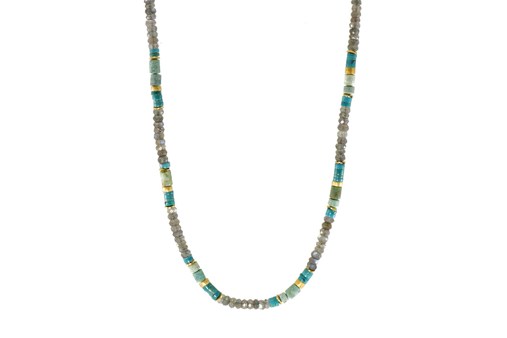 N05-091800 NECKLACE- 5MM TURQUOISE, CHRYSOCOLLA & LABRADORITE FAIR TRADE 24K GOLD VERMEIL