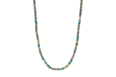 TURQUOISE, CHRYSOCOLLA & LABRADORITE NECKLACE 5MM FAIR TRADE 24K GOLD VERMEIL - Joyla Jewelry
