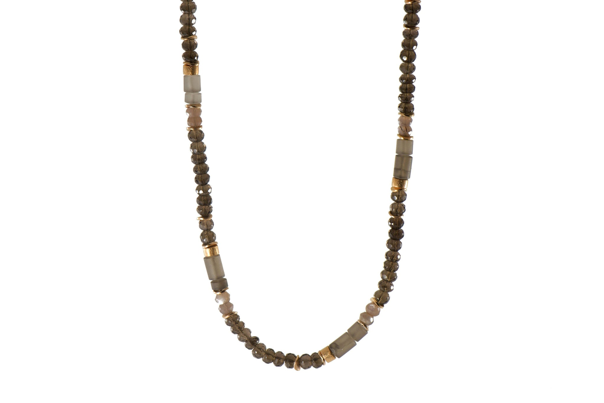 SMOKY QUARTZ NECKLACE 5MM FAIR TRADE 24K GOLD VERMEIL - Joyla Jewelry