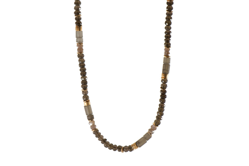 N05-1200 NECKLACE- 5MM SMOKY QUARTZ FAIR TRADE 24K GOLD VERMEIL