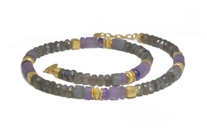 N08-090400 NECKLACE- 8MM LABRADORITE & AMETHYST FAIR TRADE 24K GOLD VERMEIL