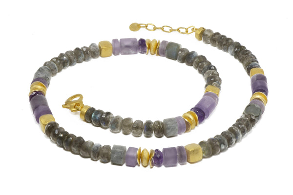 LABRADORITE & AMETHYST 8MM NECKLACE FAIR TRADE 24K GOLD VERMEIL - Joyla Jewelry
