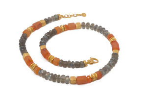 N08-090700 NECKLACE- 8MM LABRADORITE & CARNELIAN FAIR TRADE 24K GOLD VERMEIL