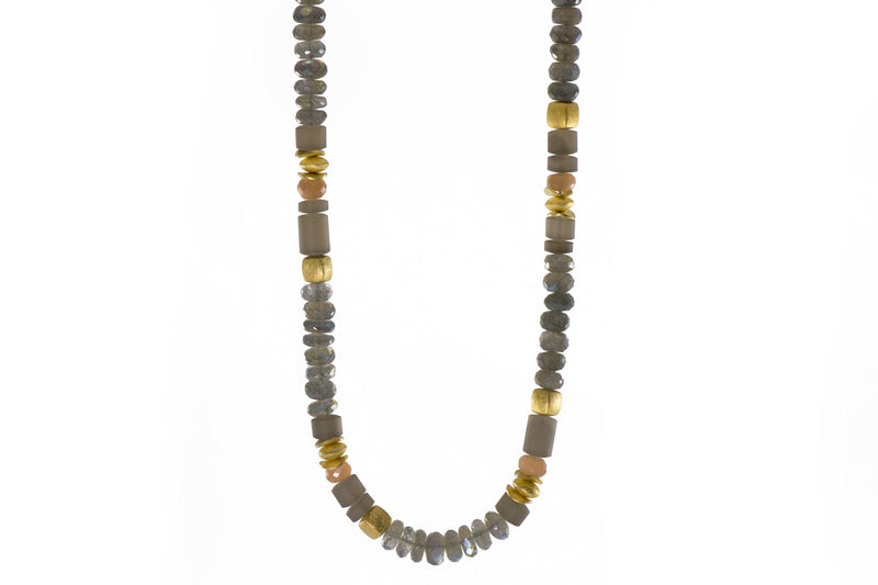 N08-091500 NECKLACE- 8MM LABRADORITE, MOONSTONE & SMOKY QUARTZ FAIR TRADE 24K GOLD VERMEIL