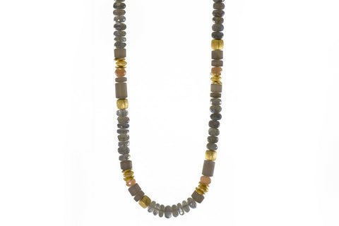 LABRADORITE, MOONSTONE & SMOKY QUARTZ 8MM NECKLACE FAIR TRADE 24K GOLD VERMEIL - Joyla Jewelry