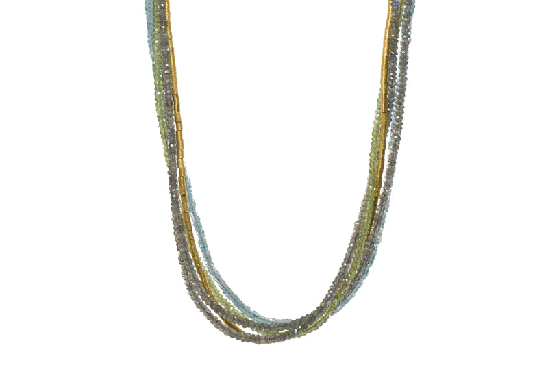 N13-220 NECKLACE- 3MM LABRADORITE, PERIDOT & APATITE FAIR TRADE 24K GOLD VERMEIL