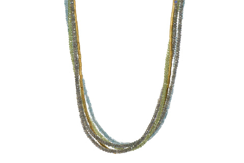 LABRADORITE, PERIDOT & APATITE NECKLACE 3MM FAIR TRADE 24K GOLD VERMEIL - Joyla Jewelry