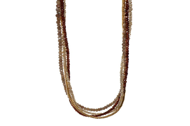 3MM GARNET, LABRADORITE & ZIRCON MULTISTRAND NECKLACE WITH FAIR TRADE 24K GOLD VERMEIL DECORATIVE CLASP  (N13-280)