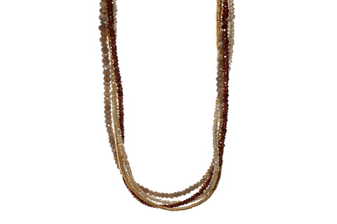 GARNET, LABRADORITE & ZIRCON 3MM NECKLACE FAIR TRADE 24K GOLD VERMEIL - Joyla Jewelry