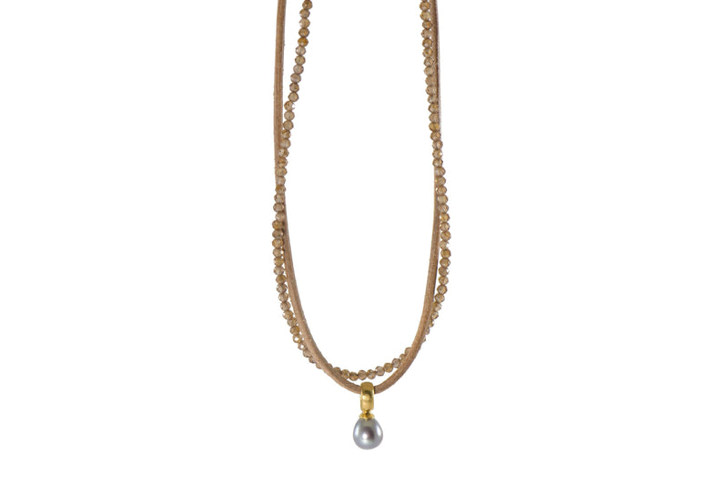 NL-01 NECKLACE- 2MM ZIRCON, LEATHER & GREY PEARL PENDANT FAIR TRADE 24K GOLD VERMEIL