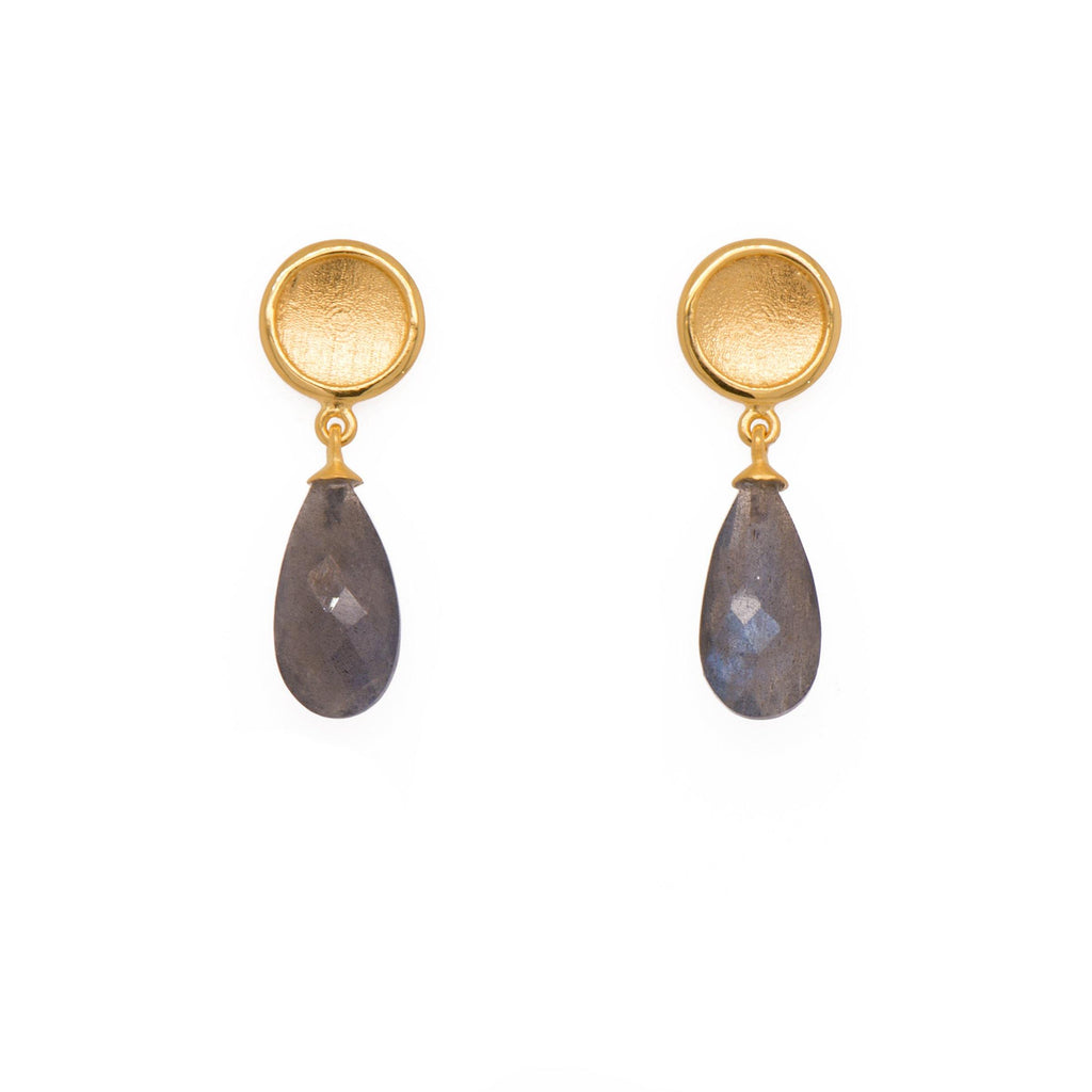 SUN EARRINGS WITH FACETED DROP STONE