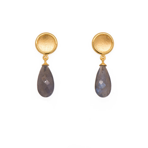 SUN EARRINGS WITH FACETED DROP STONE - Joyla Jewelry