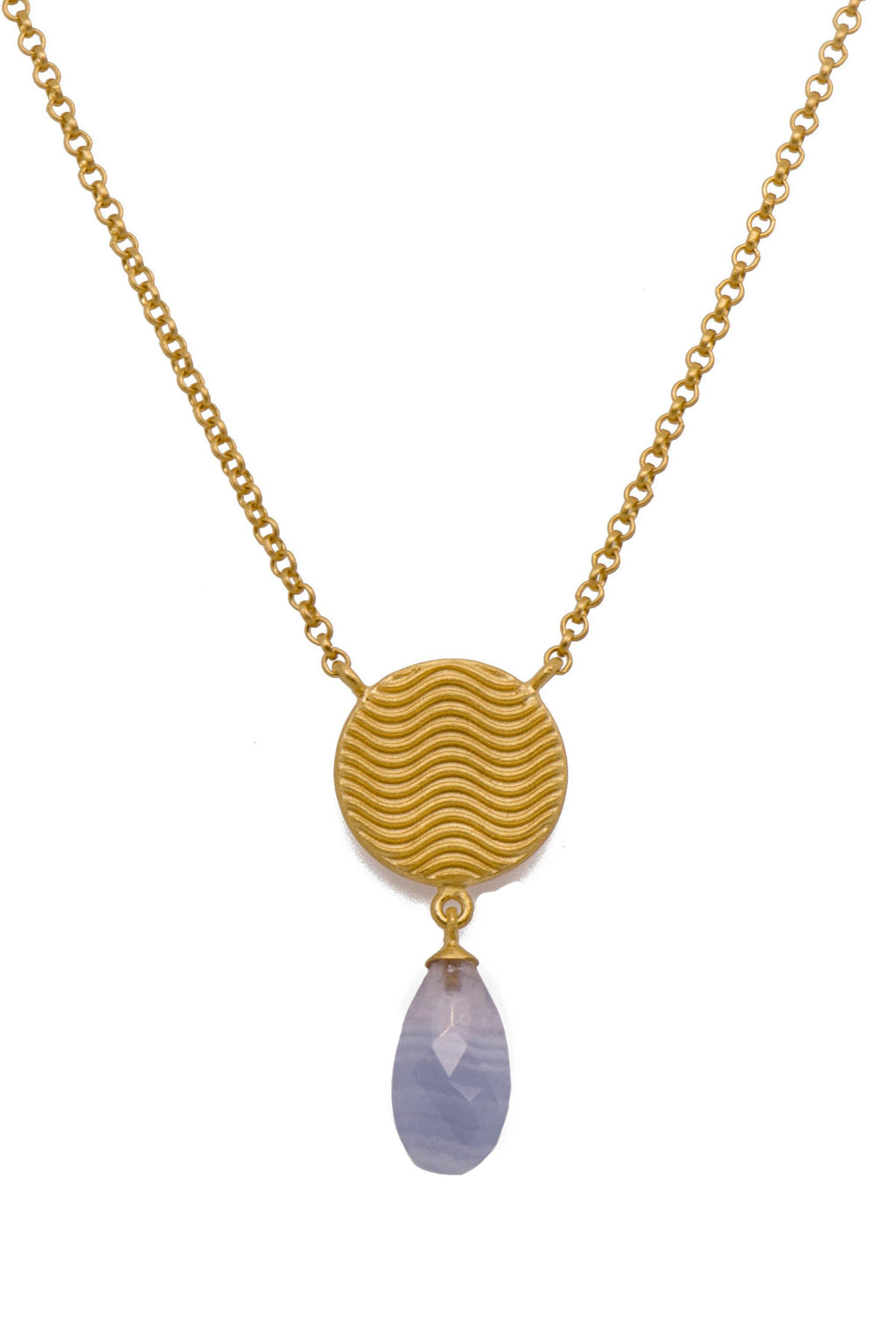 SRN2VCS SERENITY FACETED STRIPED CHALCEDONY TEARDROP NECKLACE 24K GOLD VERMEIL