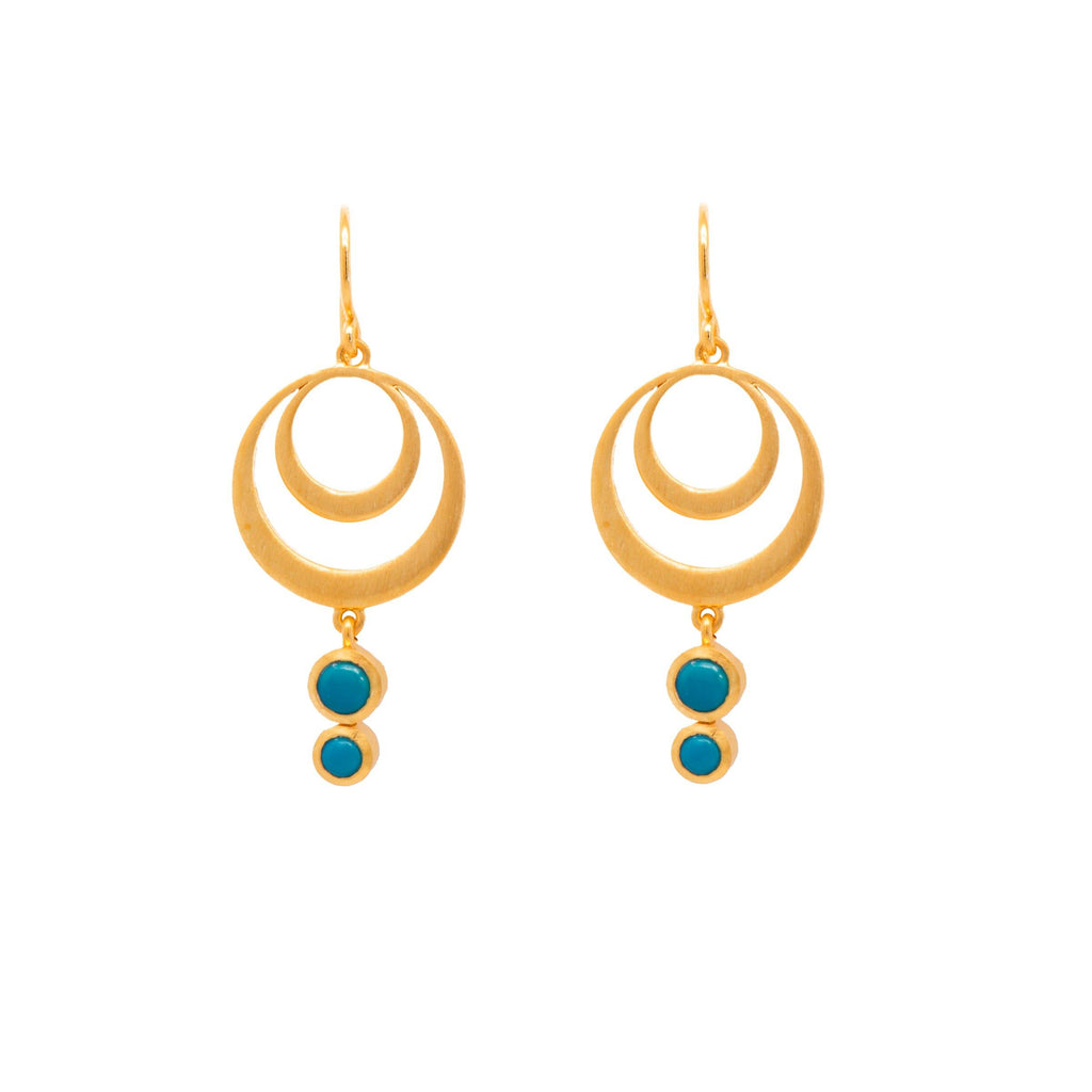 STRENGTH DOUBLE CIRCLE TURQUOISE WIRE EARRINGS 24K GOLD VERMEIL - Joyla Jewelry