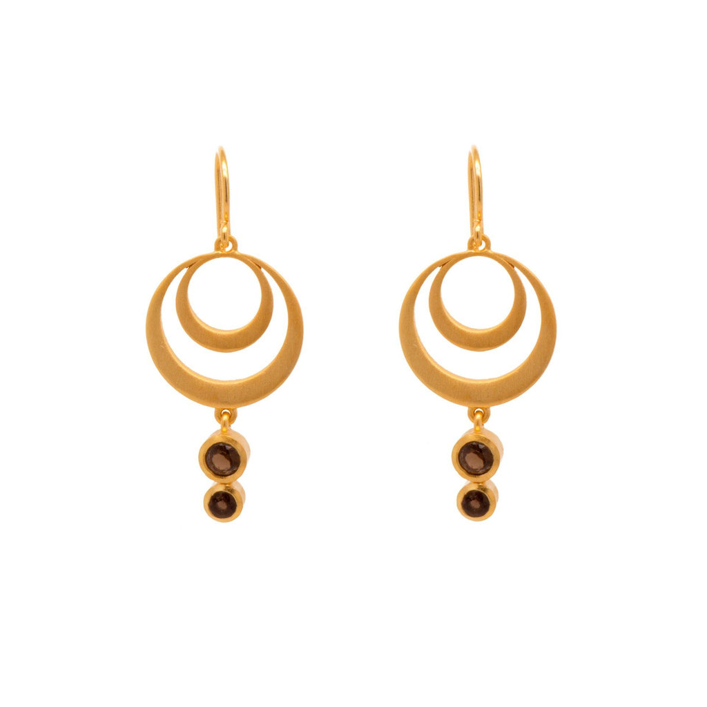 STRENGTH DOUBLE CIRCLE SMOKY QUARTZ WIRE EARRINGS 24K GOLD VERMEIL - Joyla Jewelry