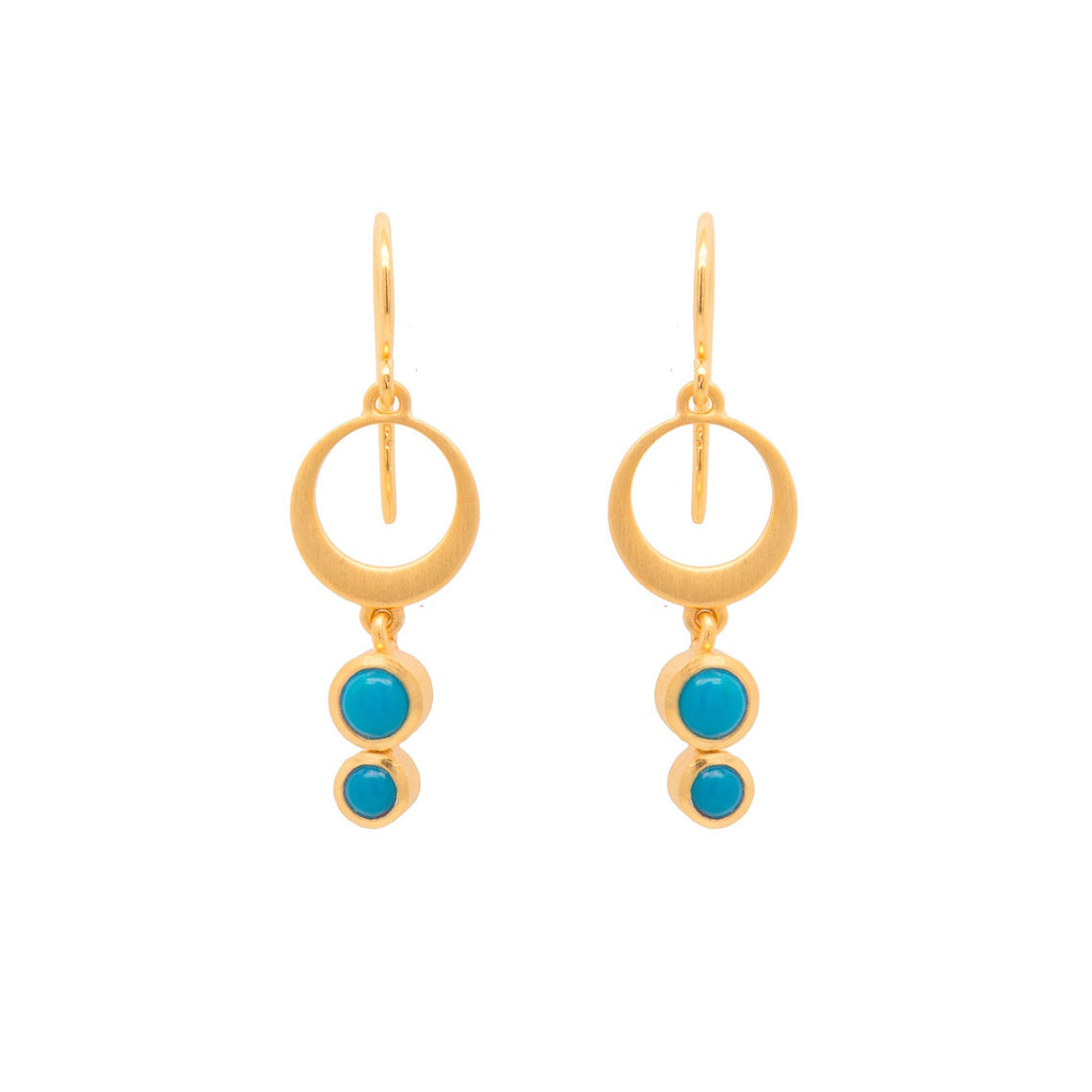 STRENGTH SINGLE CIRCLE TURQUOISE WIRE EARRINGS 24K GOLD VERMEIL - Joyla Jewelry