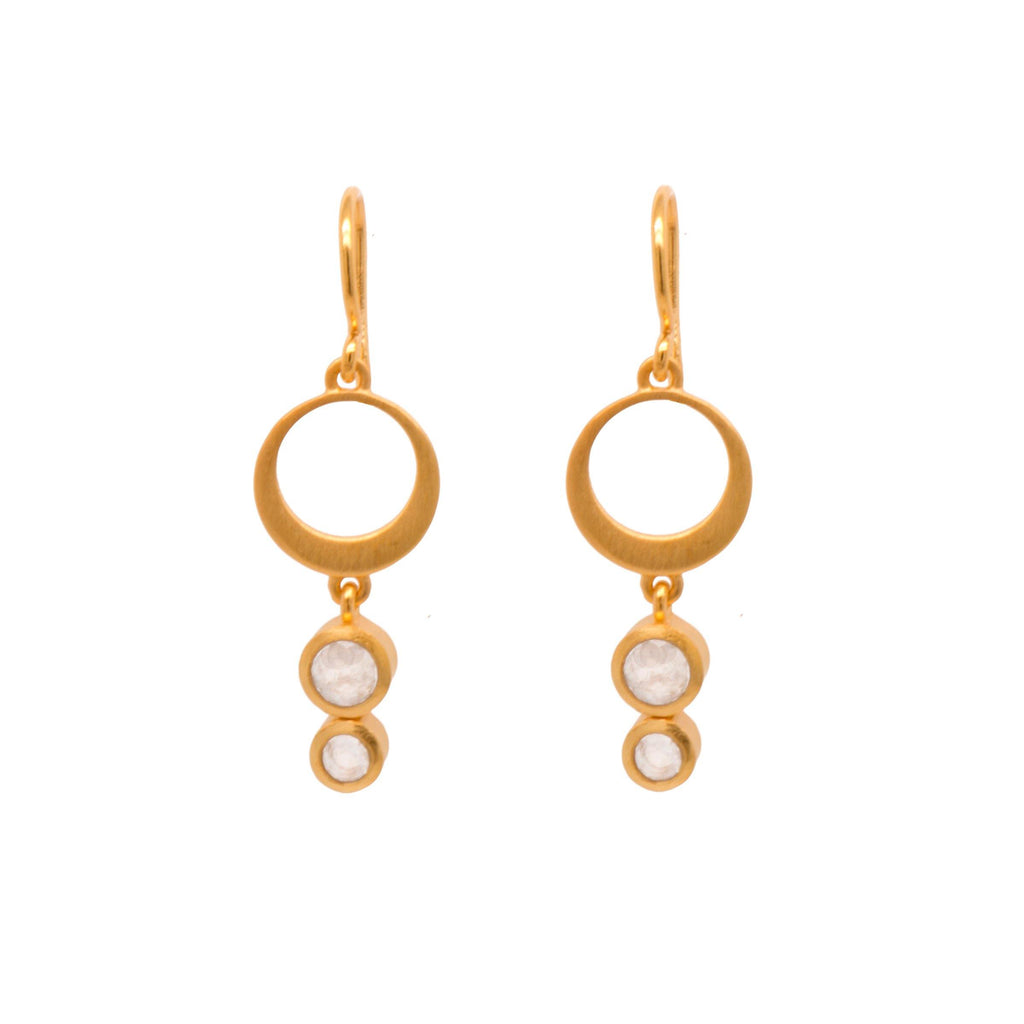 STE2WRM EARRINGS- STRENGTH SINGLE CIRCLE RAINBOW MOONSTONE WIRE 24K GOLD VERMEIL