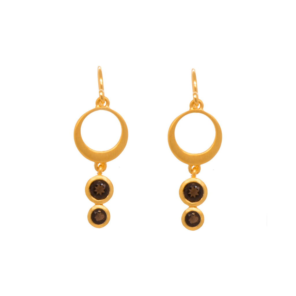 STRENGTH SINGLE CIRCLE SMOKY QUARTZ WIRE EARRINGS 24K GOLD VERMEIL - Joyla Jewelry