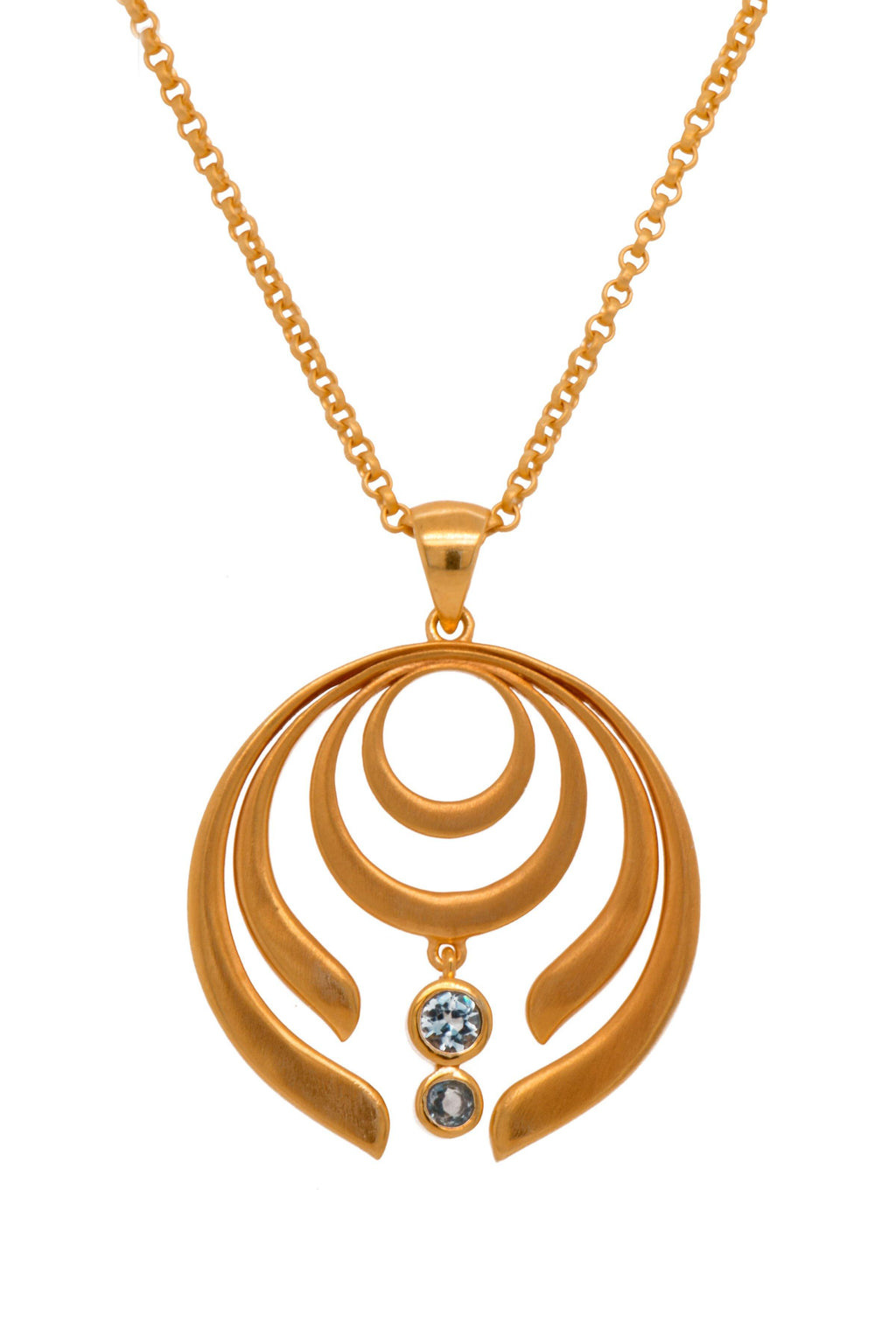 STRENGTH LARGE BLUE TOPAZ PENDANT 24K GOLD VERMEIL - Joyla Jewelry