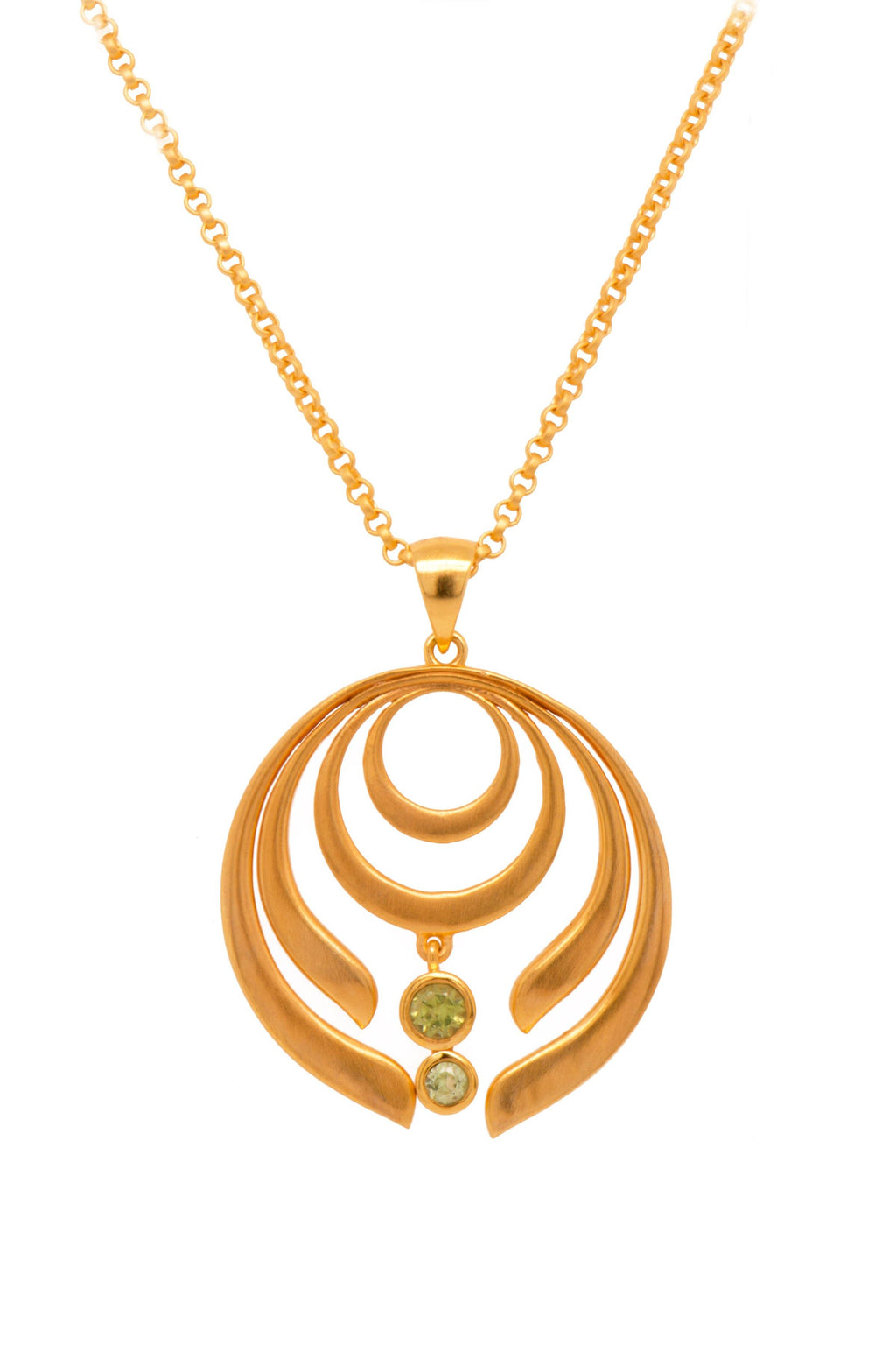 STRENGTH LARGE PERIDOT PENDANT 24K GOLD VERMEIL - Joyla Jewelry