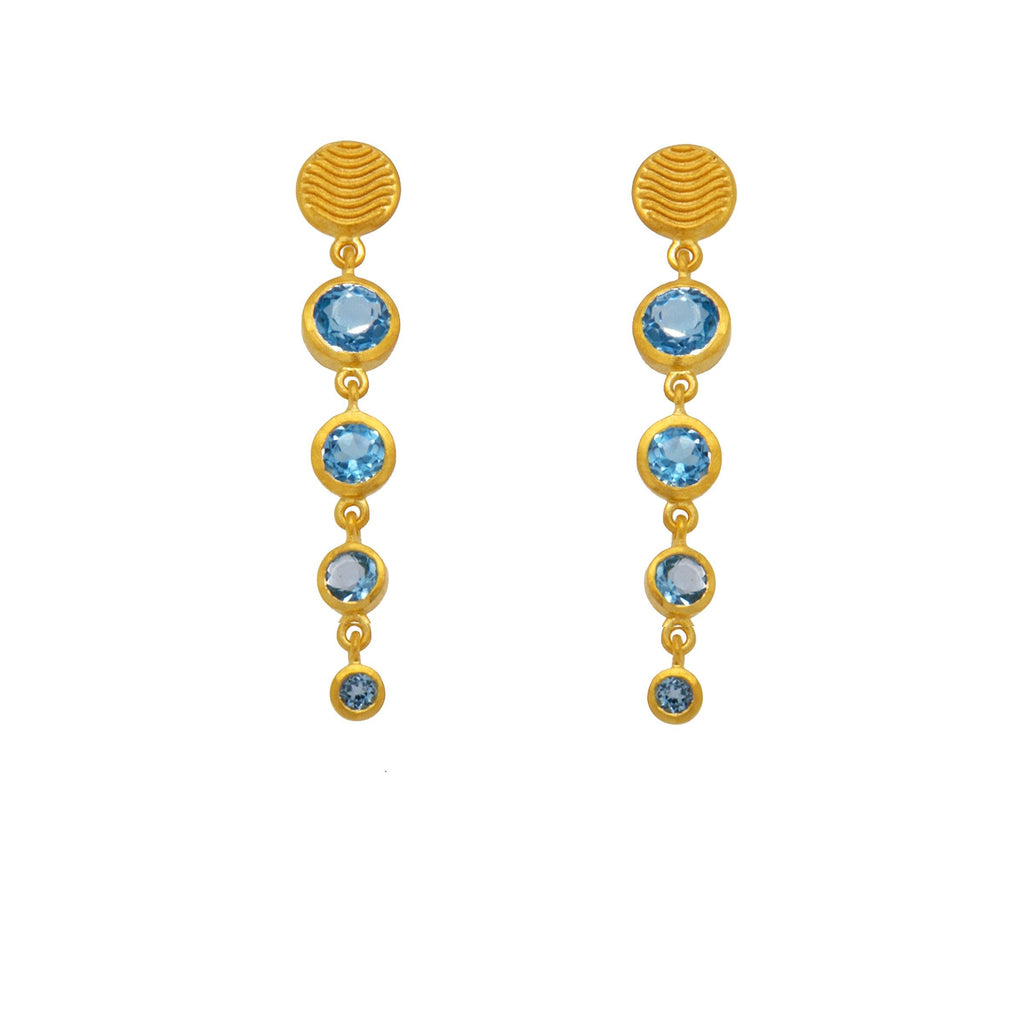 SRE4VTSB SERENITY FOUR BEZEL SKY BLUE TOPAZ EARRINGS 24K GOLD VERMEIL