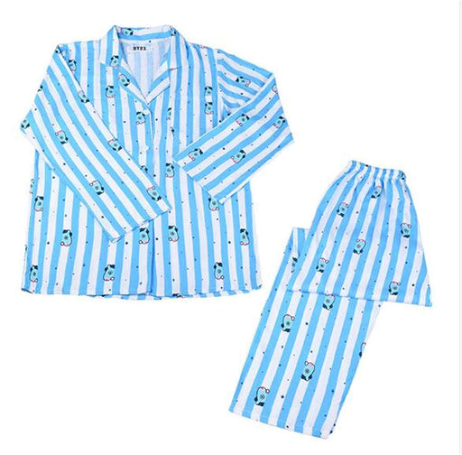 OOHPA Kpop BTS Bangtan Boys Cartoon Version V SUGA Same Harajuku Pajamas Long Sleeve Shirt Nighty Men Women Bedgown