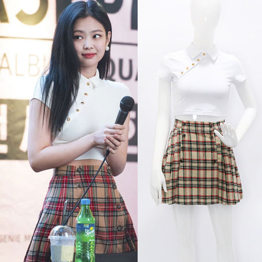 Blackpink Jennie White Button T-Shirt