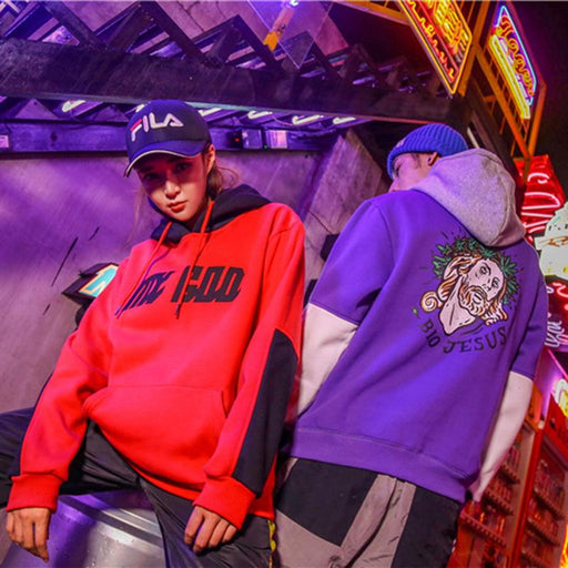 Rapper Kpop Color Block Purple Rap Orange Couple Boyfriend Hoodie
