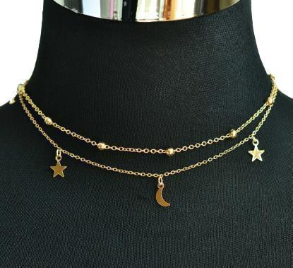 """2 LAYERS STAR MOON"" NECKLACE"
