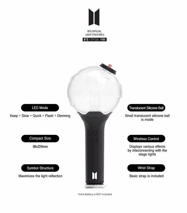 BTS OFFICIAL ARMY BOMB   VER.3  Light Stick