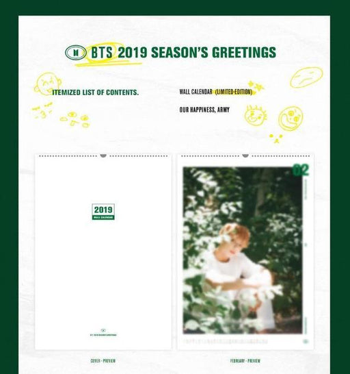 BTS 2019 SEASON'S GREETINGS WALL CALENDAR