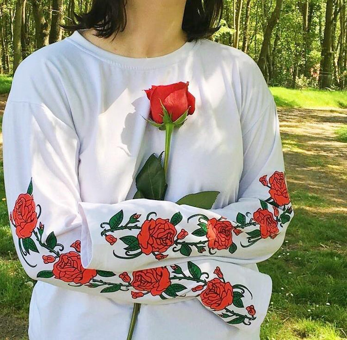 Aesthetic Rose Flower Blooming Sweatshirt