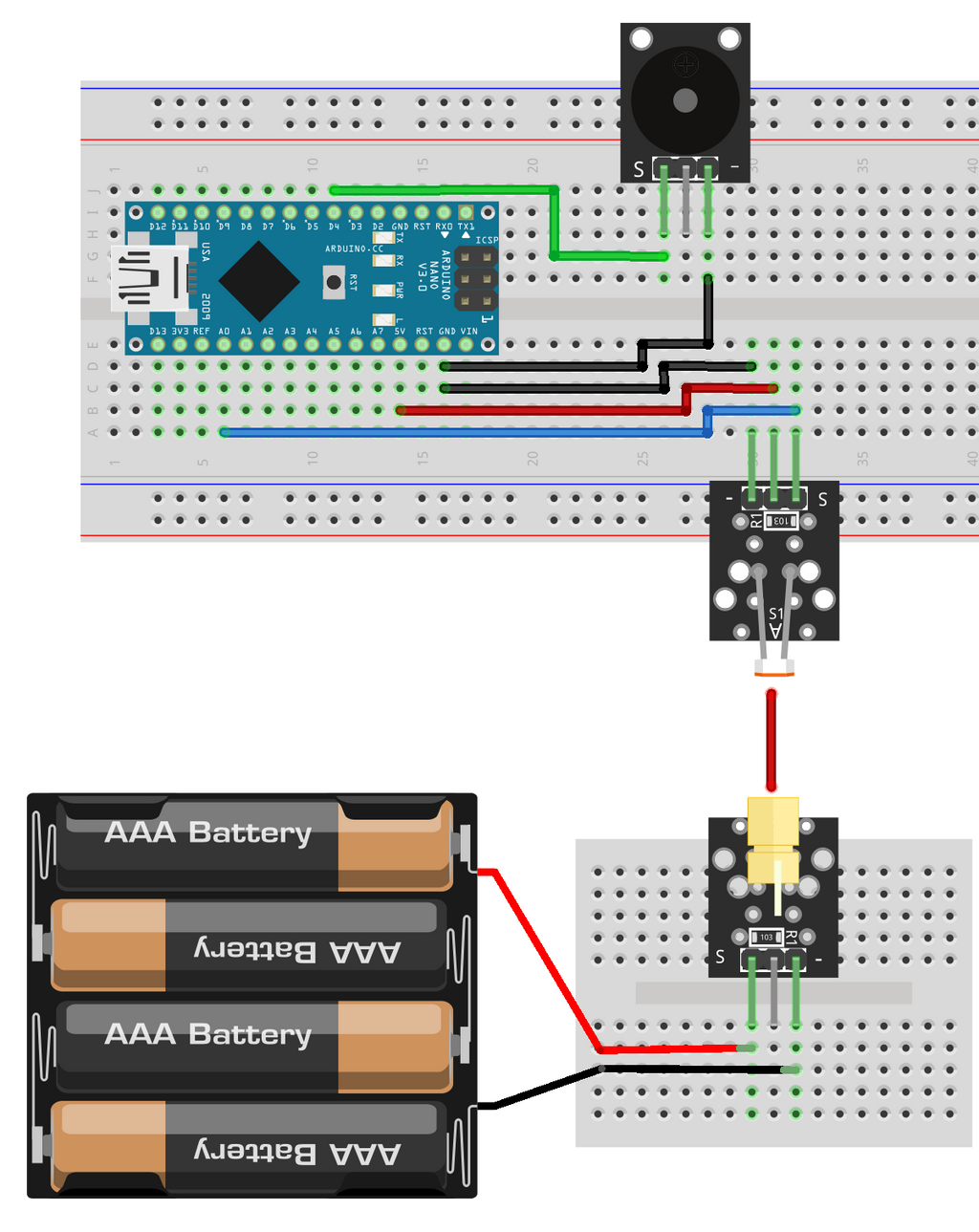 Alert System with Photo Resistor, Buzzer and Laser (Concept)