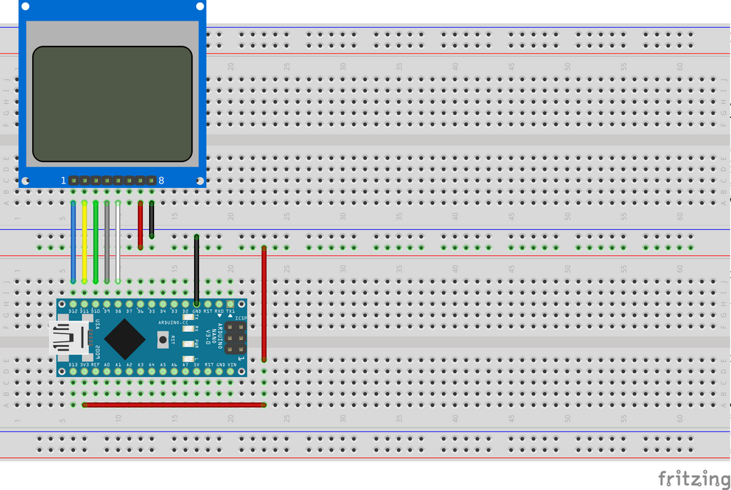 Nokia 5110 PCD8544 with Arduino - the easy way