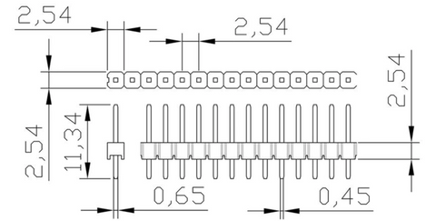 "Diagram for 40 pin 0.1""/2.54mm pitch breakaway connector"