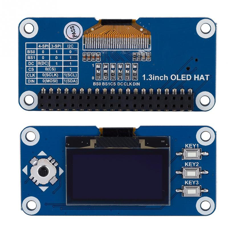 128x64, 1.3inch OLED display HAT for Raspberry Pi, Arduino, STM32 w buttons and joystick - Server On The Move
