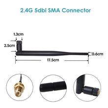 Load image into Gallery viewer, 2.4GHz WiFi Antenna 5dBi RP-SMA Male with IPX Connector cable
