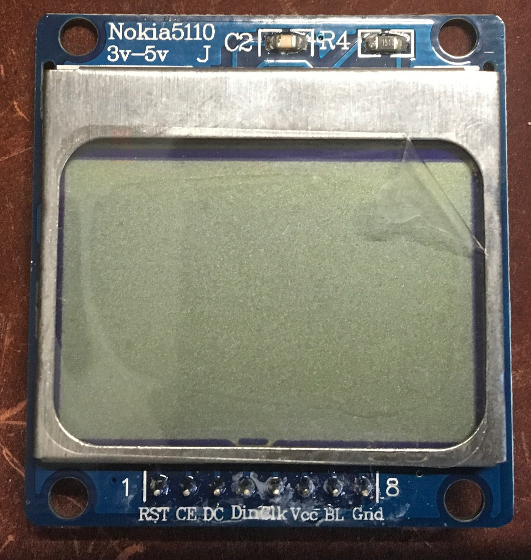 Nokia 5110 LCD 84x48 w PCD8544 3.3v/5v w soldered Headers for Arduino, Raspberry, nodeMCU