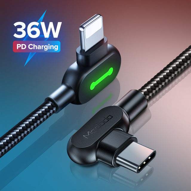 iPhone - USB-C 36W PD Charging Lightning Cable, Braided, Power Indicator