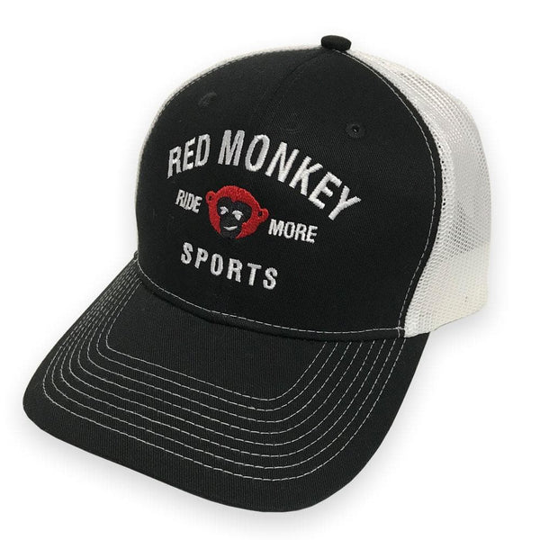 """Ride More"" 6-Panel Curved Bill Snapback Hat - Black on White - RedMonkey Sports"