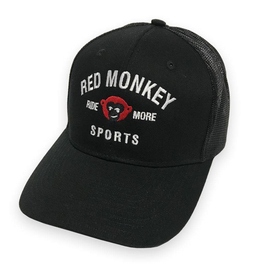 """Ride More"" 6-Panel Curved Bill Snapback Hat - Black on Black - RedMonkey Sports"