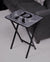 Gray Herringbone / Printed Initial Design Wood Tray Table, Black Finish