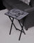 Gray Herringbone / Script Initial Design Wood Tray Table, Black Finish